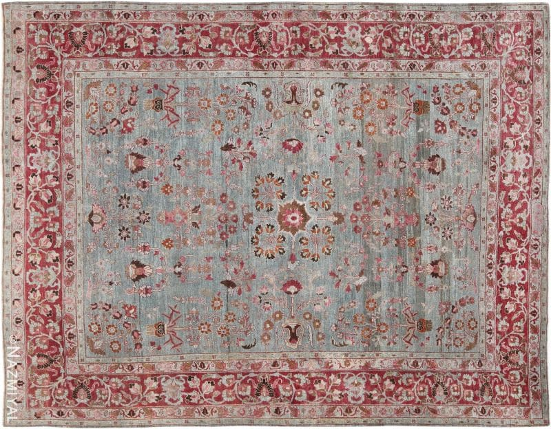 Light Blue Antique Persian Khorassan Rug Nazmiyal
