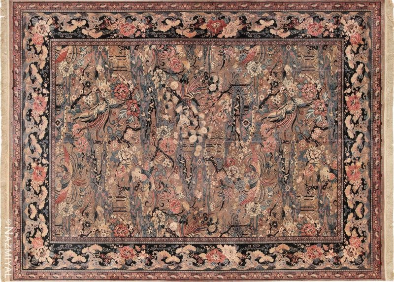Vintage Birds of Paradise English Wilton Rug Nazmiyal