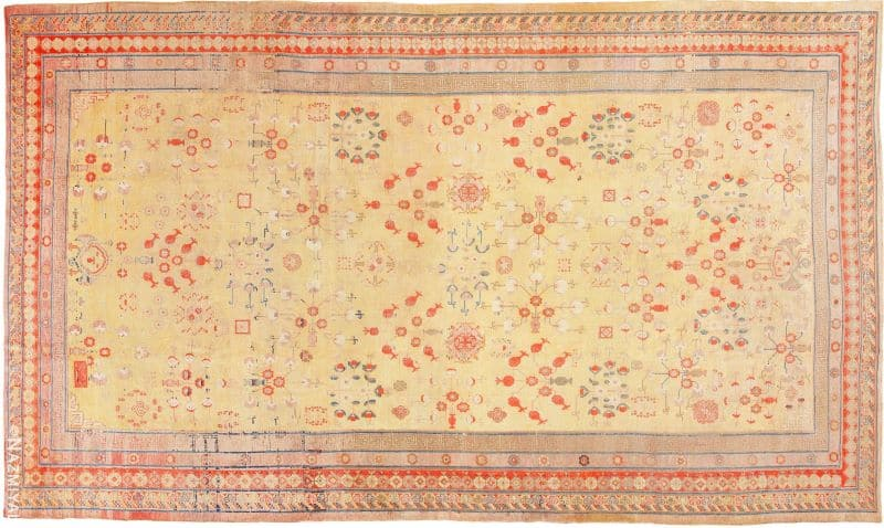Antique Oversize Samarkand Pomegranate Design Khotan Rug Nazmiyal