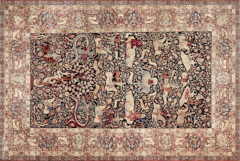 Oversized Antique Persian Hunting Scene Kerman Rug Nazmiyal