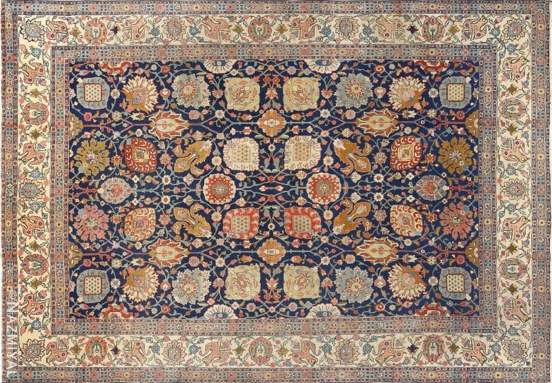 Antique Navy Background Tabriz Persian Rug Nazmiyal