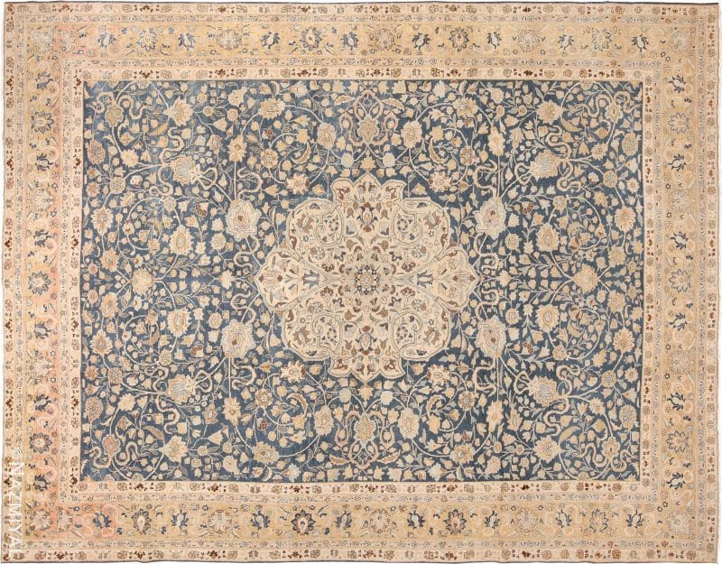 Fine Antique Royal Blue Persian Tabriz Rug Nazmiyal