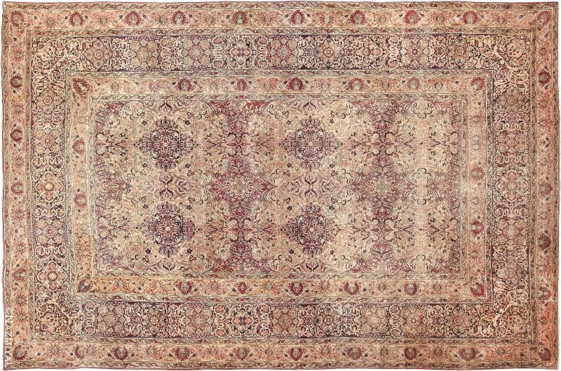 Cream and Mauve Large Floral Antique Persian Kerman Rug Nazmiyal