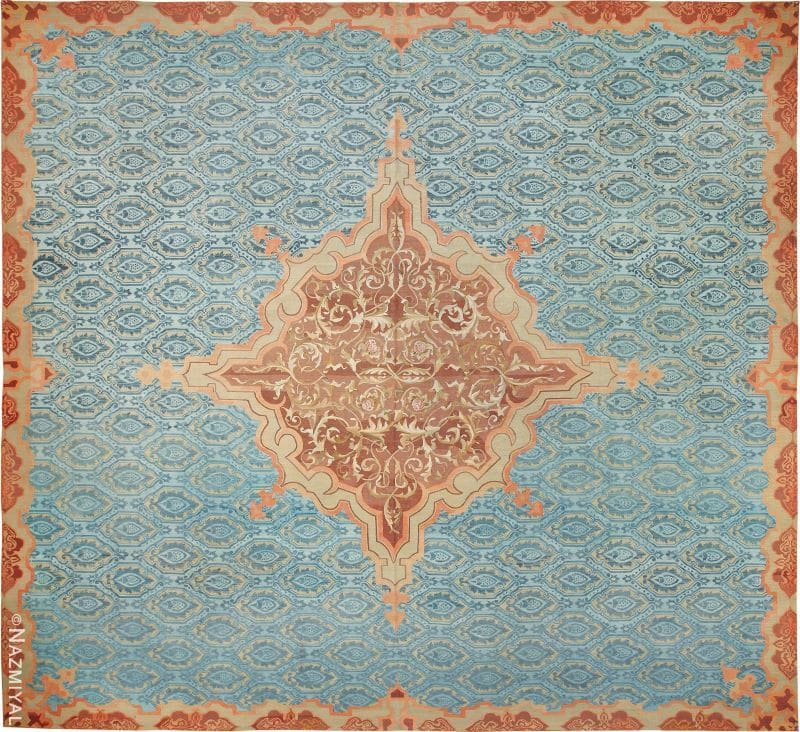 Antique Blue Mid 19th Century French Aubusson Carpet by Nazmiyal