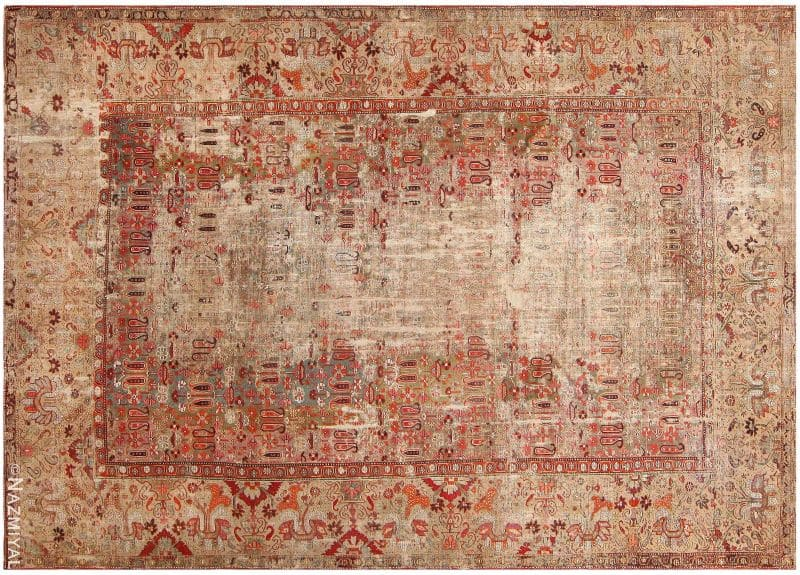 Shabby Chic 18th Century Antique Deccan Indian Rug Nazmiyal