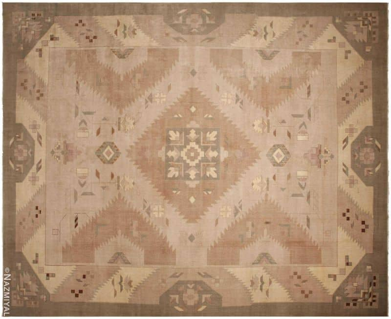 Large Oversized Geometric Art Deco Indian Vintage Rug Nazmiyal