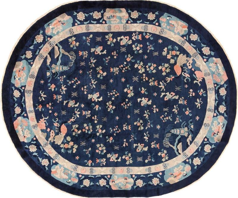 Oval Navy Blue Background Antique Chinese Rug Nazmiyal