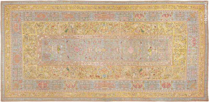 Late 17th Century Palace-Size Silk Indian Suzani Embroidery Nazmiyal